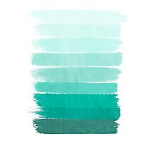 Ombre - Brushstroke Green/Blue Ocean Ombre, girly trend, dorm decor, cell phone, beach, summer,  Photographic Print