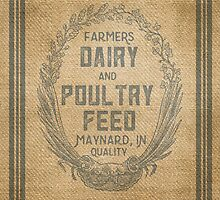 Vintage Burlap Style Dairy Poultry Feed Sack Design by marceejean