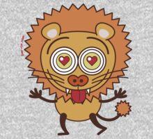 Brave lion feeling wildly in love Kids Tee