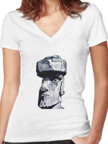 Easter Island head statue Women's Fitted V-Neck T-Shirt