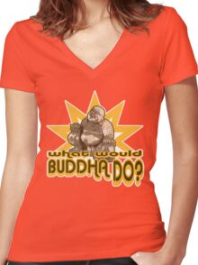Buddha t-shirt Women's Fitted V-Neck T-Shirt