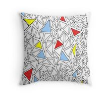 Triangles Design 1 Primary Colours Throw Pillow