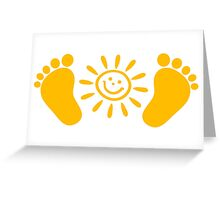 Baby feet with sun Greeting Card