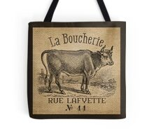 Cow French Advertisement Burlap Tote Bag
