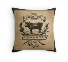French Burlap Meat Filets Advertisement Black Throw Pillow