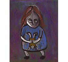 A spooky child with a spooky doll Photographic Print