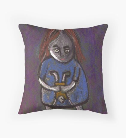 A spooky child with a spooky doll Throw Pillow
