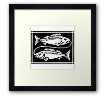 Pisces the Fish woodcut Framed Print