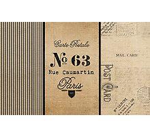 Vintage Burlap Ticker Look Paris france Photographic Print