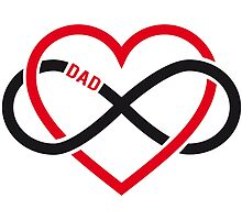 Dad, red heart with infinity sign, father's day card, sticker by beakraus