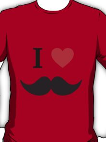I love mustache with red heart T-Shirt