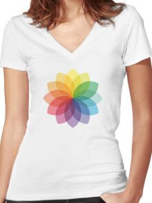 Abstract colorful flower design Women's Fitted V-Neck T-Shirt