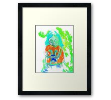 An even more spooky child with an even more spooky doll  Framed Print