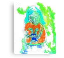 An even more spooky child with an even more spooky doll  Canvas Print