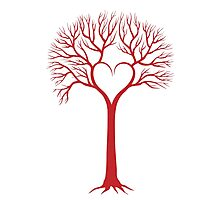 red love tree with heart branches Photographic Print