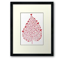red heart leaf Framed Print