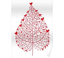red heart leaf Poster