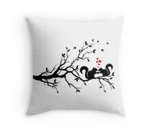 squirrels on tree branch with red hearts Throw Pillow