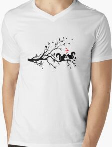 squirrels on tree branch with red hearts Mens V-Neck T-Shirt