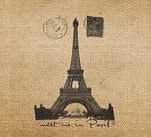 Meet Me in Paris Burlap by marceejean