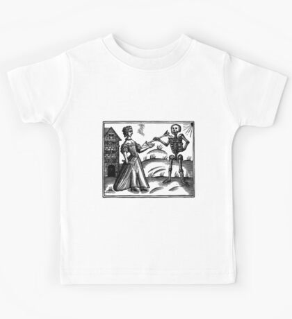Death and the Maiden - woodcut Kids Tee