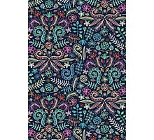 Colored Chalk Floral Doodle Pattern Photographic Print