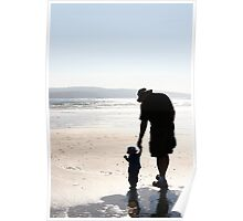 Silhouette of Father and Son Poster