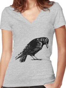 Black Crow or Raven Women's Fitted V-Neck T-Shirt