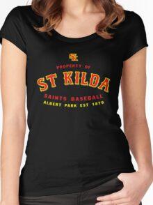 Property of St Kilda Baseball Club T-shirt Black/Grey/Charcoal/White Women's Fitted Scoop T-Shirt