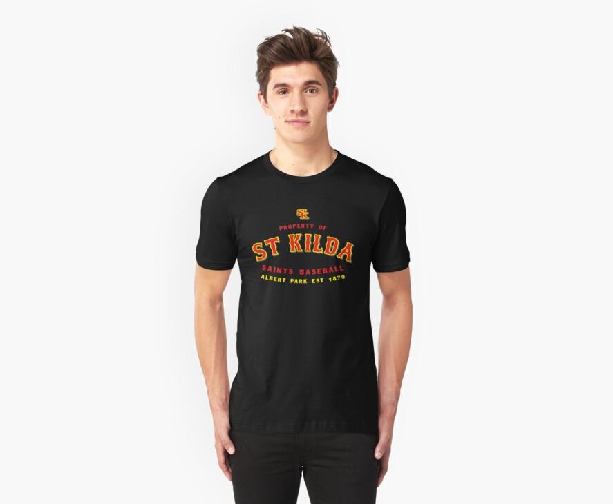 Property of St Kilda Baseball Club T-shirt Black/Grey/Charcoal/White by St Kilda Baseball Club