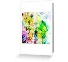 Green Geometric Grungy Diamond Pattern Greeting Card