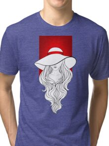 Young girl in a vintage hat on the red background Tri-blend T-Shirt