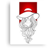 Young girl in a vintage hat on the red background Canvas Print
