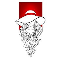 Young girl in a vintage hat on the red background Photographic Print