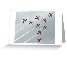 Shooting Red Arrows at the weymouth Carnival going in to a corner Greeting Card
