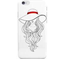 Girl with Long Hair and Hat  iPhone Case/Skin