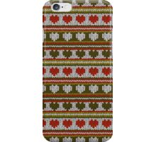 Knitted Pattern Set 15 - Hearts Green/Red iPhone Case/Skin