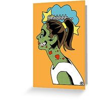 Zombie Pop Art Pin up Skull Greeting Card