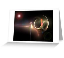 magnifying glass in space Greeting Card