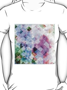 Pink & Blue Geometric Grungy Diamond Pattern T-Shirt
