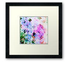 Pink & Blue Geometric Grungy Diamond Pattern Framed Print