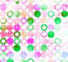 Grunge Pink & Green Dots with Star Bursts by Groovyfinds