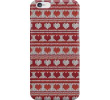 Knitted Pattern Set 20 - Red Hearts iPhone Case/Skin