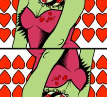 Zombie Pop Art Pin Up Heart Queen Sticker