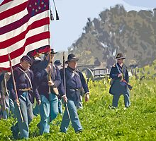 """Stylized photo of Civil War re-enactors marching on a """"battlefield"""". by NaturaLight"""