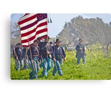 "Stylized photo of Civil War re-enactors marching on a ""battlefield"". Metal Print"