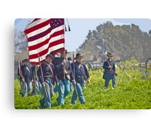 "Stylized photo of Civil War re-enactors marching on a ""battlefield"". Canvas Print"