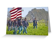 "Stylized photo of Civil War re-enactors marching on a ""battlefield"". Greeting Card"