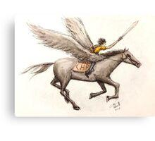 Percy Jackson & Blackjack Pen and Watercolor Canvas Print