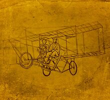 old airplane drawing by RobCrandall